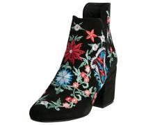 Veloursleder-Stiefel mit Stickerei schwarz