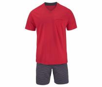 Pyjama kurz Shorty anthrazit / rot