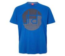 T-Shirt mit rundem Print blau / dunkelgrau