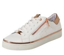 Sneaker mit Zipper rosegold / weiß