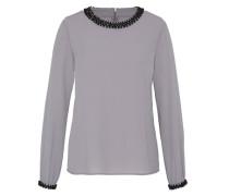 Bluse mit Schmucksteinverzierung grau