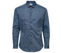 Slim-Fit-Langarmhemd hellblau / dunkelblau
