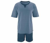 Pyjama kurz taubenblau / petrol