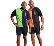Shorty (2 Stück) Pyjama in kurzer Form Oberteil mit Colorblocking und seitlichem Druck neongrün / orange / schwarz