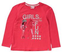 Langarmshirt 'friends' für Mädchen rosa / neonrot / silber