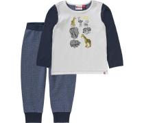 Baby Schlafanzug 'Duplo' für Jungen blau / grau / weiß
