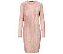Samt-Kleid mit langen Ärmeln rosé