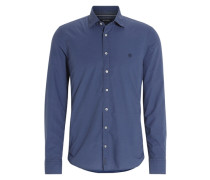 Slimfit Baumwollhemd blau