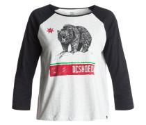 T-Shirt 'Loose Angeles Raglan' grau / schwarz
