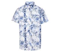 Kurzarmhemd 'nitjawii' blau / weiß