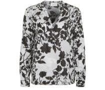 Bluse mit floralem Muster grau / schwarz