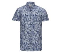 Blumen-Print-Freizeithemd blau