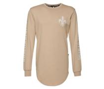 Sweatshirt mit Labelprints beige / weiß