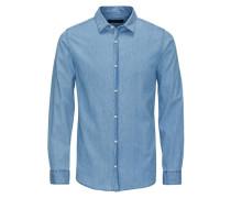 Markantes Jeans-Langarmhemd blau