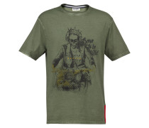 T-Shirt 'Gebol' oliv / schwarz