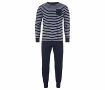 Pyjama lang im Ringeldesign navy