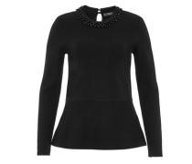 Peplum-Pullover mit Perlen-Stickerei schwarz