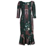 Kleid 'liliana' rauchblau / dunkelgrün / rot