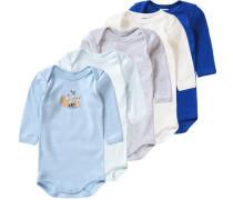 5er-Pack Bodys für Jungen blau / azur / hellblau / hellgrau / naturweiß