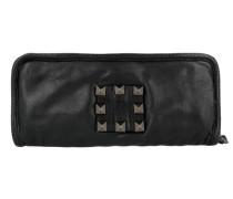 Portafoglio Geldbörse Leder 20.5 cm schwarz