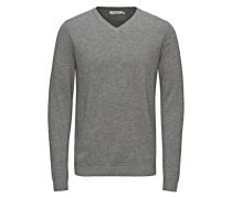 Pullover Eleganter Seidenmix-V-Ausschnitt graumeliert