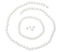 Schmuckset: Kette Armband und Ohrstecker mit Perlen (4tlg.) silber