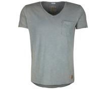 T-Shirt Vneck Pocket A grau