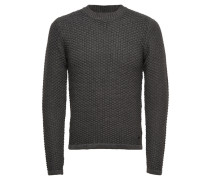 High-Neck-Strickpullover grau