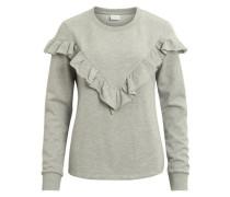 Sweatshirt mit Rüschendetail graumeliert