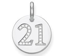 Kettenanhänger 'Coin 21 Lbpe0019-051-21' silber / weiß
