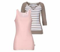 Shirt taupe / rosa