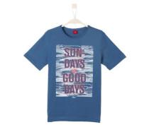T-Shirt mit Wording-Print blaumeliert / hellrot