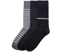 Socken 3er-Pack grau / schwarz