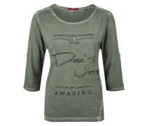 Garment Dye-Shirt mit Zierperlen grün