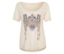 T-Shirt mit Metallic-Print beige