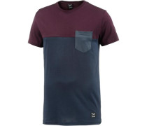 T-Shirt navy / weinrot