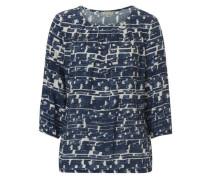 Bluse weiß-blau mit allover Print blau / naturweiß