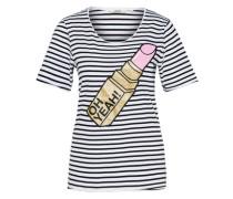 T-Shirt 'Lipstick' schwarz / weiß