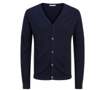 Melange- Strick-Cardigan blau