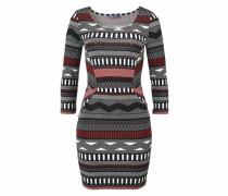 Jerseykleid rot / schwarz / weiß