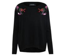 Pullover mit Drachenstickereien schwarz