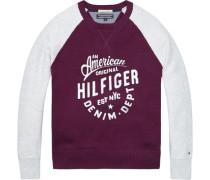 Pullover 'brighton CN Sweater L/s' beere / weiß