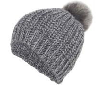 Mütze mit Pompon aus Fake-Fur grau