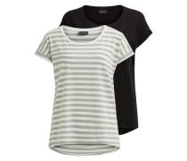 Einfaches T-Shirt 'vidreamers' grün / schwarz / weiß