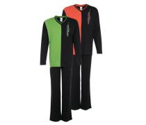 Pyjamas (2 Stck.) grün / orange / schwarz
