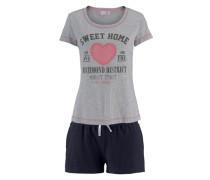 Shorty süßes Kurzarmshirt mit Kontrastnähten und Frontdruck grau / schwarz