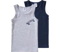 Doppelpack Unterhemden für Jungen blau / marine / grau