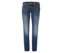 Straight Pants mit Gürtel blau
