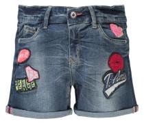 Jeansshorts mit Patches für Mädchen blue denim