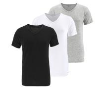 T-Shirt mit V-Ausschnitt (3 Stck.) grau / schwarz / weiß